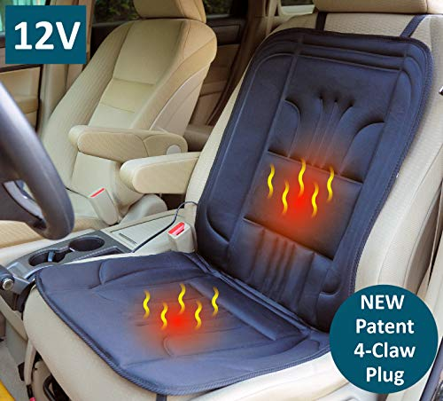 Cushion Car Deluxe Seat Heated -  ObboMed SH-4150F New 4-Claw Ultra-Tight Fit Car Plug, 12V 45W Heated Seat Cushion Cover 3-Stage Switch, 4-Claw Plug Hold 4-Direction Between Plug and Socket Specially Secured Fitting for auto Vehicle