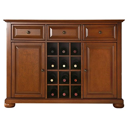 BeUniqueToday Cherry Wood Dining Room Storage Buffet Cabinet Sideboard with Wine Holder, Modern Lines & Traditional Raised Panel Doors to Create A Strong Solid Place to Store Display Your ()