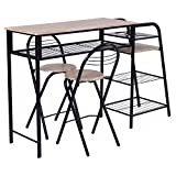 Cheap Giantex 3 PC Pub Dining Set Table Chairs Counter Height Home Breakfast w/Storage Shelves Wine Rack
