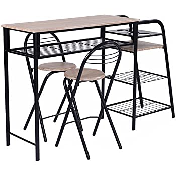 Amazon Com Giantex 3 Pc Pub Dining Set Table Chairs