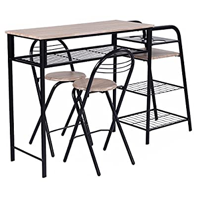 Giantex 3 PC Pub Dining Set Table Chairs Counter Height Home Breakfast w/Storage Shelves Wine Rack - 【4 Layers Storage Rack】There are racks on one side of the table for a total of 4 layers, it is super humanized for all purposes storage. The extra space makes your table only a place to have meals, all misc stuffs can be stored on the rack. 【Rust Resistant Steel Frame】Rusty furniture is very annoying. We use steel pipes as material with powder coating , it effectively prevent rust, suitable for long-term use. 【Perfect for Limited Space】This set of table and chairs is very suitable for use in places with limited space, suitable for two people dining, or place it in your apartment, which is perfect. - kitchen-dining-room-furniture, kitchen-dining-room, dining-sets - 51oeVGDu0TL. SS400  -
