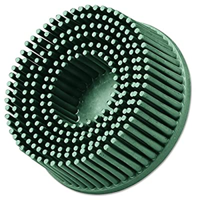 "3M Abrasive 048011-18730 Roloc Bristle Discs, 2"", 50 rpm and 25,000 rpm, Ceramic Abrasive Grain, Green"