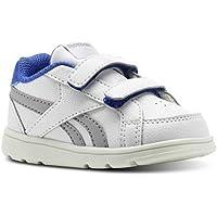Reebok Royal Prime Alt, Zapatillas de Estar por casa Bebé Unisex, Blanco (White/Stark Grey/Acid Blue 000), 21 EU