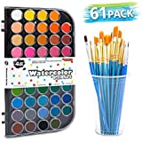 Shuttle Art 61 Pack Watercolor Paint Set, 48 Colors Watercolor Pan with 13 Paint Brushes for Beginners, Artists, Kids & Adults to Watercolor Paint, Bullet Journal, Calligraphy Practice