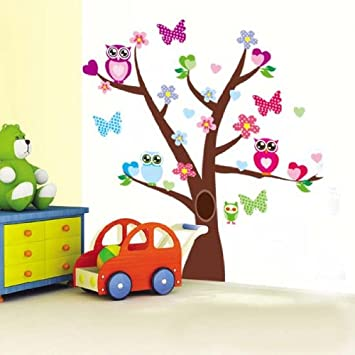 1 X Tree Butterfly Tree Owl Wall Decor Removable Sticker / Decal Set