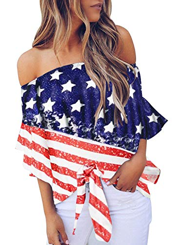 Asvivid Womens Summer Striped Off The Shoulder American Flag Blouses Flared Short Sleeve Self Tie Loose Ladies Tunic Tops M White