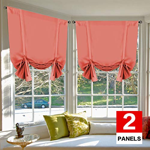 H.VERSAILTEX Blackout Energy Saving Thermal Insulated Tie Up Curtain for Small Window Home Fashion Window Treatment Solid Pattern Rod Pocket Panels for Kitchen, 2 Panels, Coral