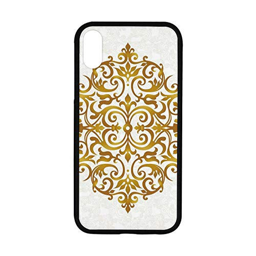 Gold Mandala Rubber Phone Case,Victorian Style Traditional Filigree Inspired Royal Oriental Classic Print Decorative Compatible with iPhone - Filigree Royal