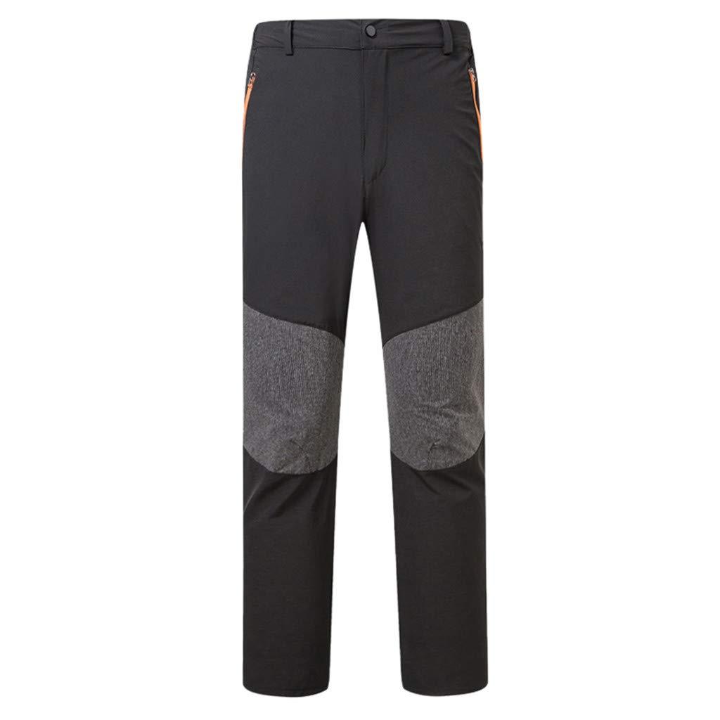 Tomppy Men's Outdoor Hiking Pants Quick-Drying Waterproof Camping Pants Zipper Pockets Climbing Mountain Pants Black