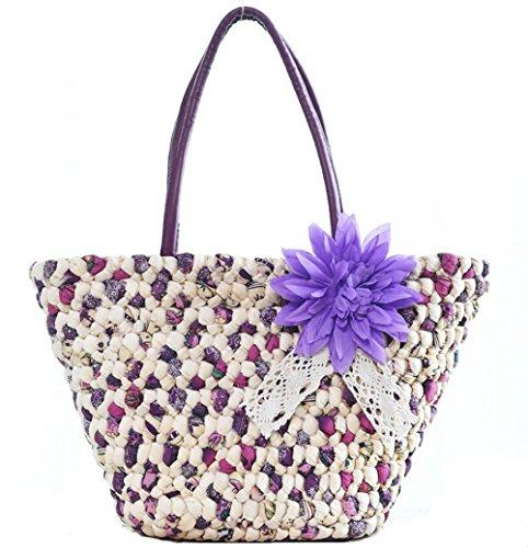 WOMJIA La bolsa de asas hecha a mano del bolso de hombro de la playa de la rota de la rota con clase clásica (Azul) Púrpura