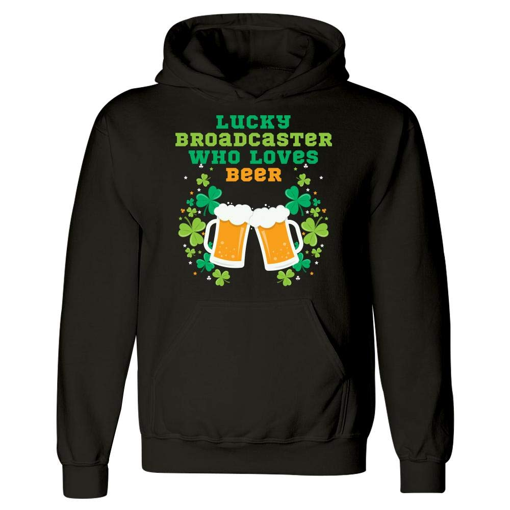 Lucky Broadcaster Who Loves Beer St Patricks Day Graphic Hoodie