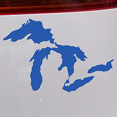 Great Lakes of Michigan Premium Weatherproof Vinyl Car Decal Bumper Sticker (Blue, Standard): Arts, Crafts & Sewing