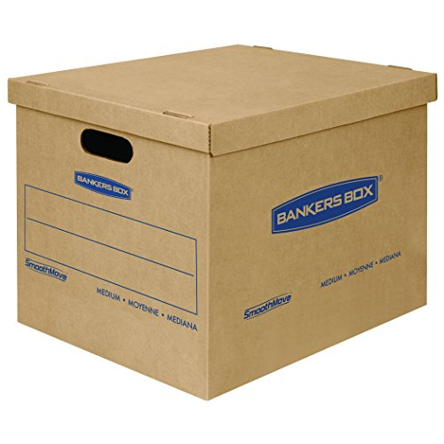Bankers Box SmoothMove Classic Moving Boxes, Tape-Free Assembly, Easy Carry Handles, Medium, 18 x 15 x 14 Inches, 8 Pack (7717201) (Center Beauty Classic)