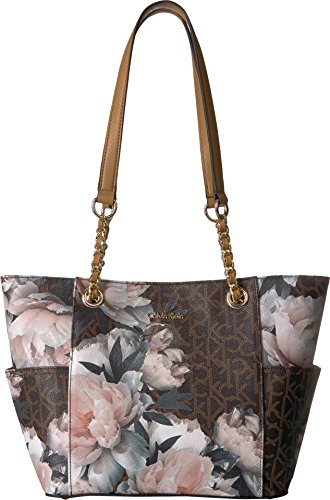 Calvin Klein Key Item Chain Monogram Tote Tote Bag, PEONY COMBO, One Size
