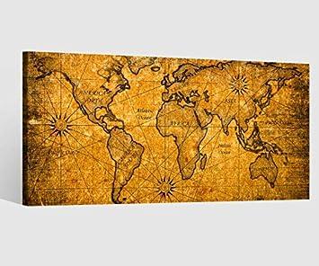 Amazonde Leinwandbild Leinwand Karte Welt Weltkarte Braun Antike