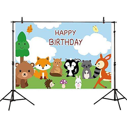 Allenjoy 7x5ft Cartoon Zoo Theme Backdrop Safari Animals Grassland Blue Sky White Cloud Wonderland Children Birthday Party Newborn Baby Shower Kids Photography Background Decoration Photo Studio Props