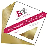 12x12 Permanent Vinyl, 10 Pack Gold Metallic Outdoor Adhesive Backed Craft Sheets in Glossy Finish for Silhouette and Cricut to Make Monograms Stickers Decals and Signs by Scraft Artise