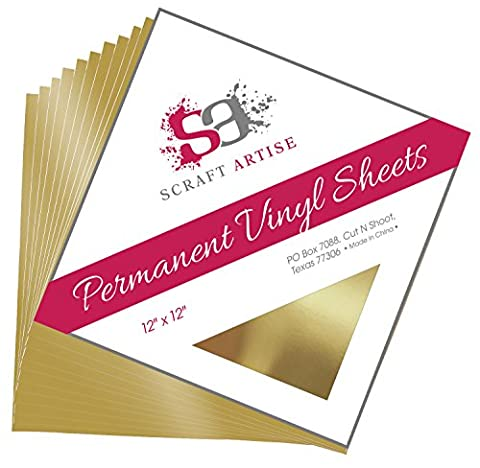 12x12 Permanent Vinyl, 10 Pack Gold Metallic Outdoor Adhesive Backed Craft Sheets in Glossy Finish for Silhouette and Cricut to Make Monograms Stickers Decals and Signs by Scraft (Scan N Cut Sticker)