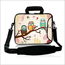 """ICOLOR Neoprene Laptop Shoulder Bag with Strap Waterproof Shoulder Case Pouch School Office Work Case Bag with Multi Pictures for Size 14.5"""" 15 inch 15.6"""" Pro/HP/Acer/Dell/Asus/Samsung Notebook Owls"""