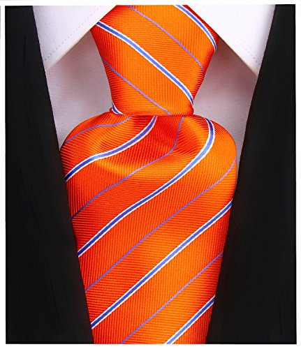 Striped Ties for Men - Woven Orange Necktie - Mens Ties Neck Tie by Scott Allan ()