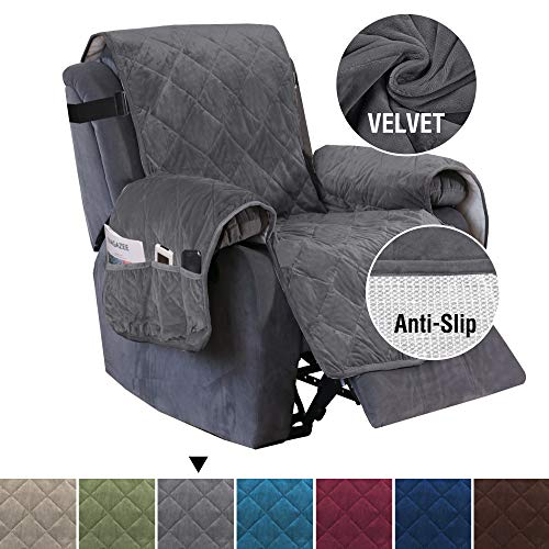 """H.VERSAILTEX Recliner Sofa Slipcover Slip Resistant Quilted Velvet Plush Recliner Cover Furniture Protector Seat Width Up to 28"""" Couch Shield 2"""" Elastic Straps Recliner Slipcover Gray"""