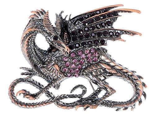 Alilang Antique Rust Gunmetal Fantasy Renaissance Medieval Dragon Pink Crystal Rhinestone Brooch ()
