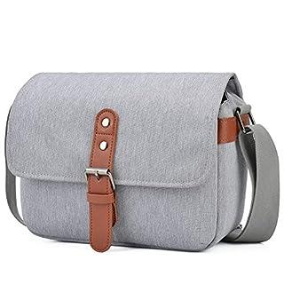 CADeN Compact Camera Shoulder Bag, Retro DSLR SLR Mirrorless Camera Messenger Case Bag for 1 Nikon Canon Sony Mirrorless Cameras 1/2 Len Accessories(Light Grey)