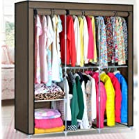 Generic New Triple Portable Folding Storage Organizer Wardrobe Closet Garment with 5 Hanging Space