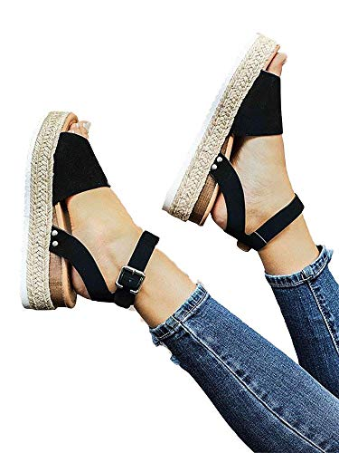 Liyuandian Womens Open Toe Ankle Strap Buckle Sandals Trendy Espadrilles Platform Wedge Slingback Flats