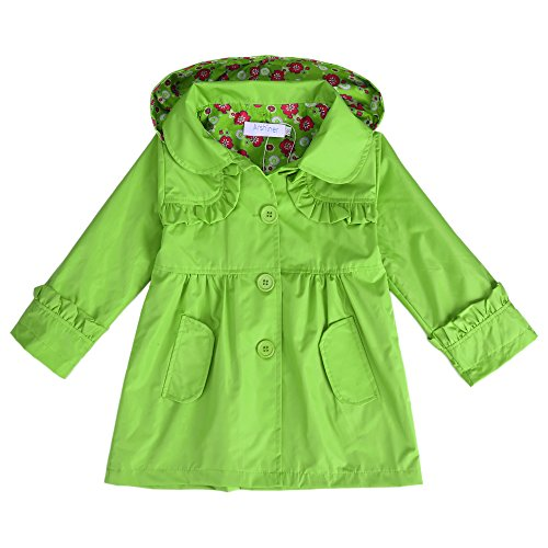 Arshiner Girl Kid Flower Waterproof Hooded Coat Jacket Outwear Raincoat, Green, 110(Age for 3-4Y)
