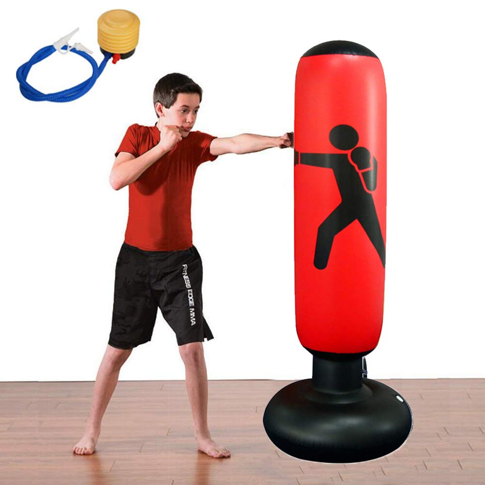 Wolfsport Fitness Punching Bag Heavy Punching Bag Inflatable Punching Tower Bag Freestanding Children Fitness Play Adults De-Stress Boxing Target Bag ...