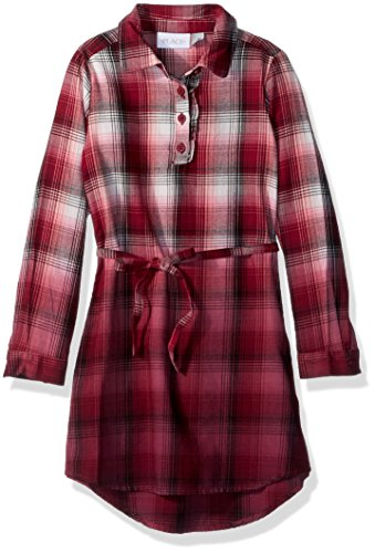Girls Plaid Dress (The Children's Place Big Girls' Dipdye Plaid Dress, Dark Tamale, XL (14))
