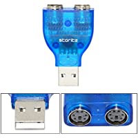 Storite USB to PS/2 Converter, Easy Install, Universal Plug & Play, USB 1.1/2.0/3.0, Windows 8.1/8/7, Vista, XP, Mac OS 10.4-10.9, 13-inch length, TU-PS2 (5 Pack, USB to PS/2,Blue)