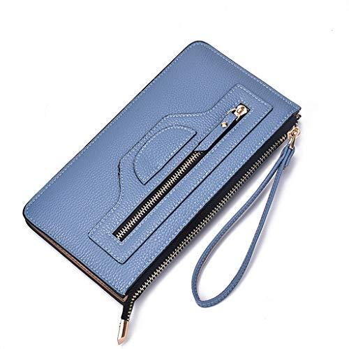 JESPER Women RFID Blocking Double Layers Smartphone Wristlet Hard Leather Wallet With Zipper