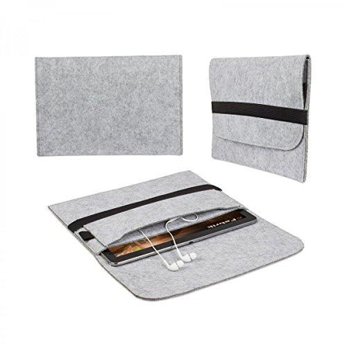 eFabrik Filz Sleeve Hülle Schutz Tasche für Apple iPad Air 2 (9,7 Zoll) grau