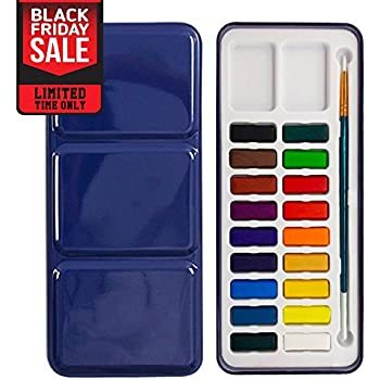 Max Watercolor Set | Deluxe Water Paint Kit with 24 Half Pan Assorted Solid Cake Colors and a Brush | Portable Field Sketch Metal Box with Built-In Blend and Mix Palette for Kid and Adult | 987.2