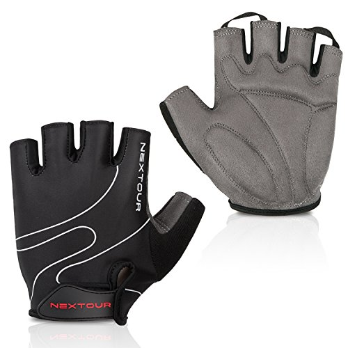 Fingerless Bike Gloves - Tanluhu Cycling Gloves Mountain Bike Gloves Half Finger Road Racing Riding Gloves with Light Anti-Slip Shock-Absorbing Biking Gloves for Men and Women
