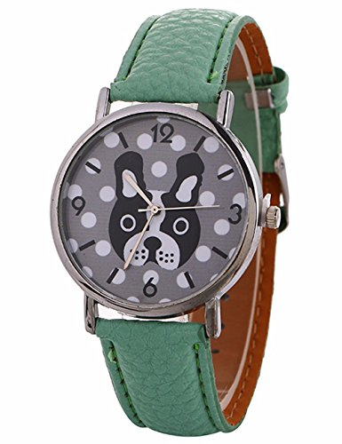 Animal Pattern Watches for Women,COOKI Unique Analog Lady Watches Cartoon Dog Female watches on Sale Casual Wrist Watches for Women Comfortable PU Leather Watch-A147 (green) (Pattern Cartoon Casual)