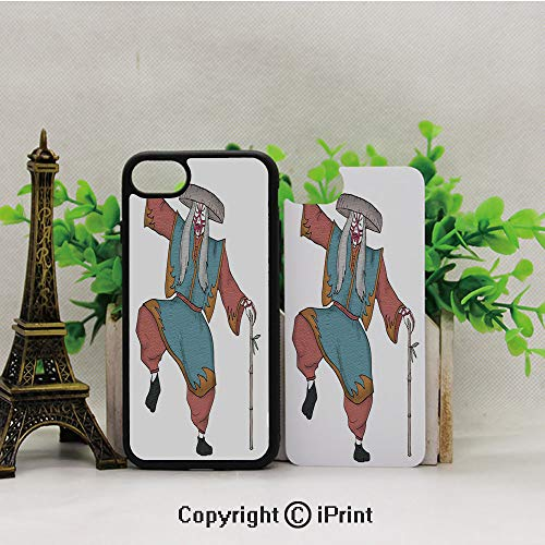 Phone Case Compatible with iPhone7/8,Cultural-Asian-Character-Posing-Traditional-Hat-Makeup-and-Costume-Decorative,Dust-Proof and Shockproof