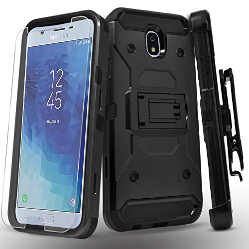 - Starshop Full Cover Dual Layers Phone Case Compatible for Samsung Galaxy J7 Pro, With [Tempered Glass Screen Protector Included] And Kickstand and Locking Belt Clip-Black