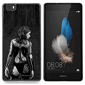 Eason Shop / Premium SLIM PC / Aliminium Casa Carcasa Funda Case Bandera Cover - Mujer Negro tatuaje del motorista - For Huawei Ascend P8 Lite (Not for Normal P8)