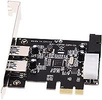 SODIAL(R)Tarjeta controladora USB 3.0 (Supervelocidad) de 2 puertos PCI-E PCI Express de 19 pines Tarjeta de expansion USB 3.0 con conector de ...