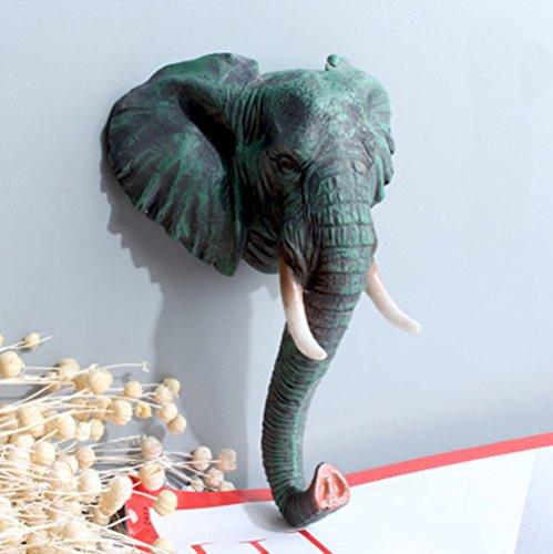 Saundra Peal Animal Head Heavy Duty Resin Hanger Coat Hat Hooks,Wall Decoration- Gorilla/Zebra/Reindeer/Giraffe/Antelope/Elephant ( Elephant ) ()