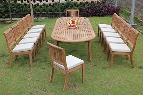 New 13 Pc Luxurious Grade-A Teak Wood Outdoor Dining Set - 117