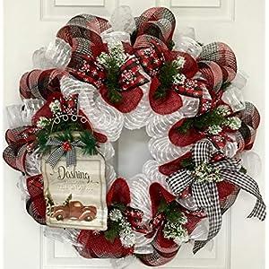 Dashing Through The Snow Mason Jar Handmade Deco Mesh Winter or Holiday Wreath 4