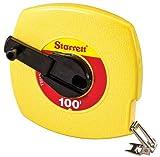Starrett KTS510-100-N ABS Plastic Yellow Case Closed Reel Steel Long Tape, English Graduation Style, 100' Length, 0.375'' Width, 0.125'' Graduation Interval