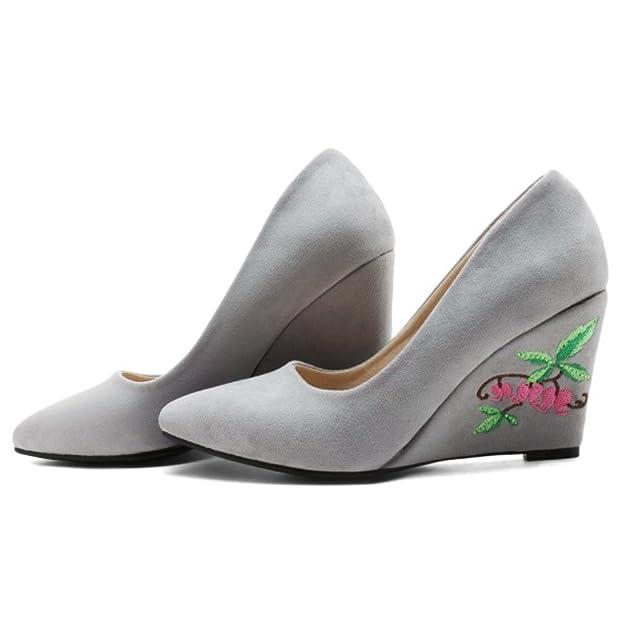 COOLCEPT Damen Klassische Chinese Embroidery Schuhe Fashion Keilabsatz Ladies Hochzeit Pumps (42 EU, 783 Yellow)