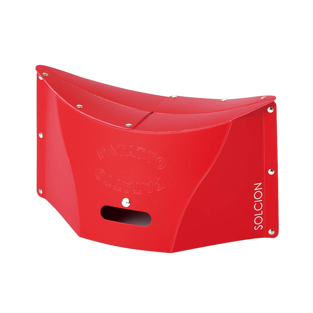 SOLCION Portable Folding Stool for Camping, Fishing, Hiking. 200 Model, Lightweight 0.475kg, Load Capacity 100Kg. Easy to Carry and Store. Suitable for Adults and Kids Indoors or Outdoors(Red Medium) by SOLCION