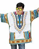 Ornatcha Pha Fai Brand New African Dashiki Shirt, Unisex (X-Large, white Blue Pink)
