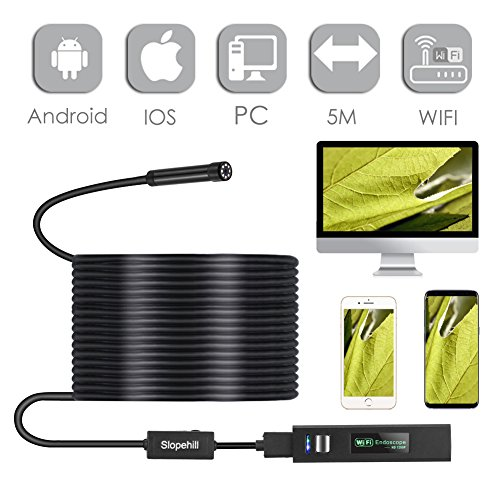Wireless Endoscope for Android and iPhone, Slopehill WiFi Borescope Inspection Camera 1200P HD 2MP, Semi-Rigid Snake with Telescopic Rod, Waterproof, for Smartphone, Tablet, PC - 11.5F